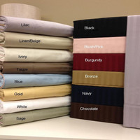100% Combed Cotton 300 Thread Count Stripe Standard/Queen Set of 2 Pillowcases