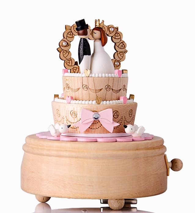 Wedding Music Box Gift: Handmade Wooden Ribbon Wedding Cake Music Box