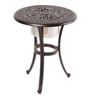 """Kaleidoscope 21"""" Round Beverage Cooler Side Table with Stainless Steel Bowl Cast Aluminum Antique Wine"""