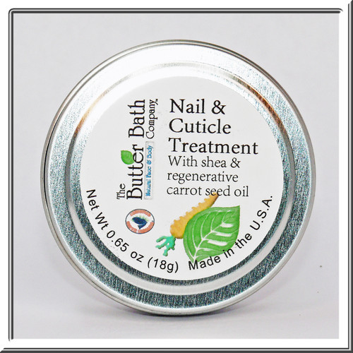 Nail & Cuticle Treatment features shea butter & rejuvenating carrot seed oil.