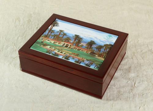 Mahogany desk box and tile insert with customization option.