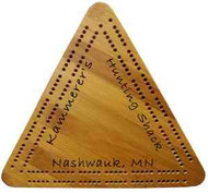 Triangle Cribbage Board engraved on all 3 sides.