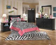 Maribel Black 6 Pc. Dresser, Mirror, Chest, Twin Panel Headboard & 2 Nightstands