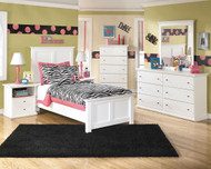 Bostwick Shoals White Dresser, Mirror, Chest & Twin Panel Bed