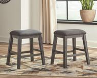 Caitbrook Dark Gray Upholstered Stool (Set of 2)