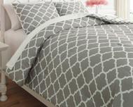 Media Gray/White Full Comforter Set