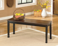 Owingsville Black with Brown Large Dining Room Bench