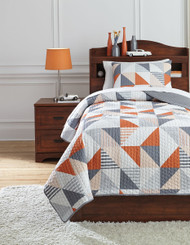 Layne Gray with Orange Twin Coverlet Set