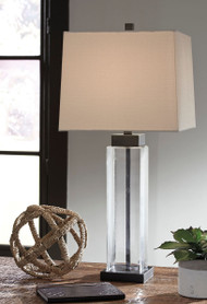 Alvaro Clear with Bronze Finish Glass Table Lamp