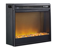 Entertainment Accessories Black Fireplace Insert Glass with Stone