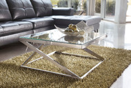 Coylin Brushed Nickel Finish Square Cocktail Table