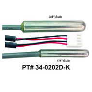 """HydroQuip / Balboa Sensor, 3/8"""" Temp / 1/4"""" High Limit, 96"""" Cord, Part #  34-0202D-K"""