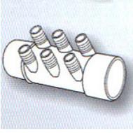 "2"" Slip x ? 6-Port 3/4"" Barbed Water Manifold Spa Hot Tub"