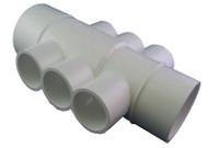 """Waterway Manifold 6 port 1"""", flow thru 2 side, 1 1/2""""S x 2"""" - 672-4550"""
