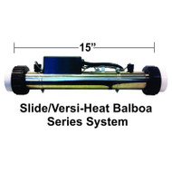 "HydroQuip / Balboa ""SLIDE"" Series, 5.5KW, 2.25"" x 15"", 24"" Cord, M7, W/Clamps, Part # 26-87M-S00-1F03"