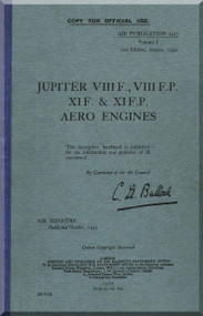 Bristol Jupter VII F , VIII F.P. XIF. & XI F.PI   Aircraft Engine Maintenance Manual  ( English Language )