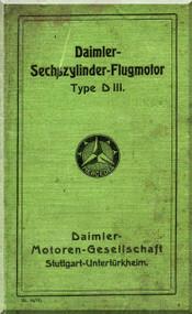 Daimler D.III  Aircraft   Engine Operating   Manual , (German Language )