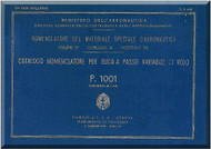 Piaggio P.1001 Aircraft Propeller Parts Manual - Elica - Nomencaltore
