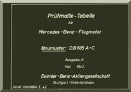 Daimler Benz DB 605 A-C  Aircraft   Engine Technical   Manual Prüfmaß-Tabellen von Motor-Lagerstellen. (German Language ), 1943