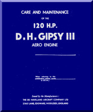De Havilland  Gipsy Queen III 120 H.P. Aircraft Maintenance Manual  ( English Language )