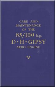 De Havilland  Gipsy 85 / 100   Aircraft Engine Care and  Maintenance Manual  ( English Language )
