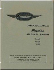 Franklin 6VA-178 6VA-200 6V-335  Aircraft Engine  Overhaul   Manual  ( English Language )