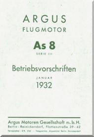ARGUS  Flugmotor As 8 B   Aircraft Engine Technical Manual  ( German Language ) Betriebsvorschriften -1932