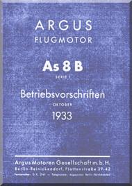 ARGUS  Flugmotor As 8 B   Aircraft Engine Technical Manual  ( German Language ) Betriebsvorschriften -1933