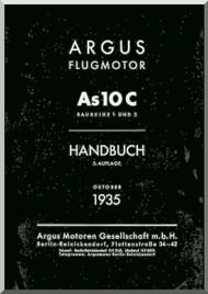 ARGUS  Flugmotor As 10 C   Aircraft Engine Handbook  Manual  ( German Language ) Handbuch -1935