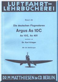 ARGUS  Flugmotor As 10 C   Aircraft Engine Technical  Manual  ( German Language )