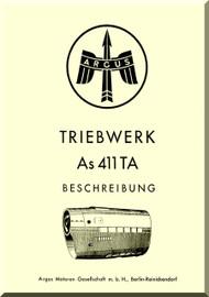 ARGUS  Flugmotor As 411   Aircraft Engine Hydraulic  Manual - As 411 TA Triebwerk Beschreibung  ( German Language )