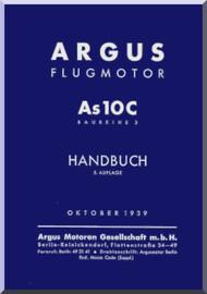 ARGUS  Flugmotor As 10 C   Aircraft Engine Handbook  Manual  ( German Language ) Handbuch -1939
