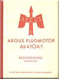 ARGUS  Flugmotor As410 A-1   Aircraft Engine Handbook  Manual  ( German Language ) Beschreibung
