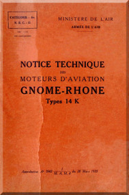 Le Rhone Gnome Type 14 K Aircraft Engine Manual 1935