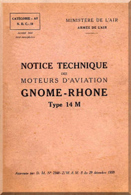 Le Rhone Gnome Type 14 M Aircraft Engine Manual - 1939
