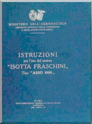 Isotta Fraschini Asso 1000  Aircraft Engine Technical  Manual,    ( Italian Language )