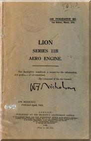 Napier Lion Series 11 B   Aircraft Engine Maintenance Manual  ( English Language )