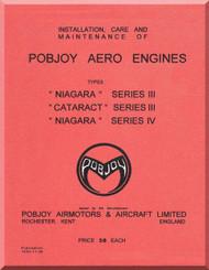 "Pobjoy "" Niagara ""  III "" Cataract "" III "" Niagara "" IV    Aircraft Engine  Operation, Installation and Maintenance Manual  ( English Language )"