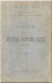 Hispano Suiza 8 300 Cv Aircraft Engine Maintenance Manual Instruction Book  ( French Language )
