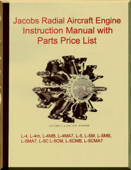 Jacobs L-4, M, MB MA7 , L-5 M MB MA7 L-5C   Aircraft Engine Instruction with Parts price Manual  ( English Language )