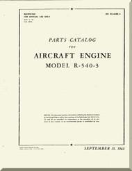 Kinner R-540 Aircraft Engine Parts Catalog Manual  ( English Language )