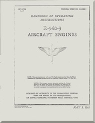 Kinner R-540 Aircraft Engine Operating Manual  ( English Language )