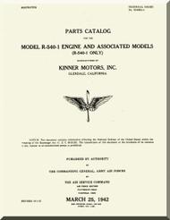 Kinner R-540 -1 Aircraft Engine Parts Catalog Manual  ( English Language )
