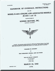 Kinner R-440 -3 Aircraft Engine Overhaul Manual  ( English Language )