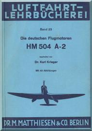 Hirth Motoren   HM 504 A-2  Engine Technical  Manual  (German Language )