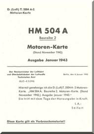 Hirth Motoren 504 A-2 Aircraft Technical Manual - Motoren Karte - 1943