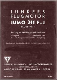 Junkers Flugzeug- und Motorenwerke A.G. Jumo  211 F und J  Aircraft Engine Handbook Manual  ( German Language )