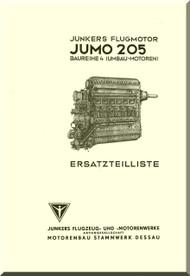 Junkers Flugzeug- und Motorenwerke A.G. Jumo  205  Aircraft Engine Illustrated Parts Catalog  Manual  ( German Language )  Ersatzeilliste