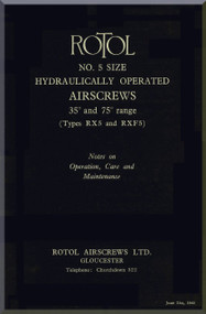 Rotol Aircraft Propellers Technical Hydraulic Operated Manual  N.ro 5  -1940