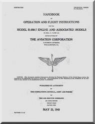 Lycoming R-680 -3 -5 -7 -11 Aircraft Engine Operation Flight  Manual  ( English Language )
